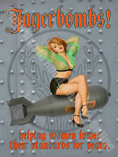 Jagerbombs! 50s Pin-up Girl Bar 105 Funny, Vintage Retro, Large Metal/Tin Sign