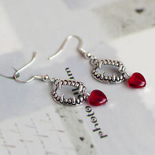 ANTIQUE SILVER VAMPIRE FANG BITE HEART TEETH  GOTHIC EARRINGS