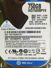 Western Digital 750 GB WD 7500 BPVX - 00jc3t0 DCM: ebotjbn | 20apr2015 disco rigido