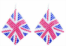 5.5cm by 5.5cm chain mail dangle earrings with union jack pattern