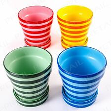 4 x DECORATIVE STRIPED PLANT POT WITH SAUCER Flower Holder Patio Porch Kitchen