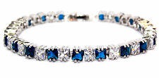 Silver Blue Sapphire And White Topaz 13.8ct Tennis Bracelet