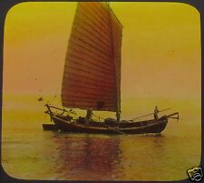 Glass Magic Lantern Slide CHINESE FISHING BOAT NEAR TAKU C1910 PHOTO CHINA