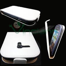 Custodia eco pelle BIANCA interno SCAMOSCIATO per Samsung Galaxy S3 mini i8190