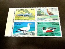 MARSHALL IS. 1988 WATER BIRDS COMPLETE BLOCK OF 4, VERY FINE MINT NEVER HINGED