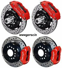 """WILWOOD DISC BRAKE KIT,1955-57 CHEVY,12"""" DRILLED ROTORS,6/4 PISTON RED CALIPERS"""