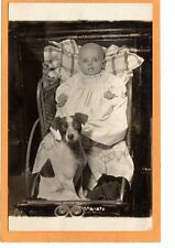 Real Photo Postcard RPPC - Infant and Jack Russell Terrier Dog in Stroller