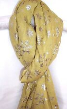 NEW WOMENS LIGHT OFF GREEN SCARF SILVER SNOWFLAKE DESIGN SOFT COTTON SHAWL WRAP