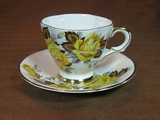 Windsor Bone China Demi Cup and Saucer Yellow Roses Gold Trim
