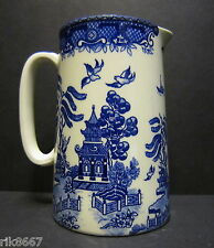 Heron Cross Pottery BLUE WILLOW ENGLISH 1 Pint Jug