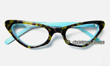 Lady Women cat eye glasses frames Optical acetate Tortoise+Lake blue brand new