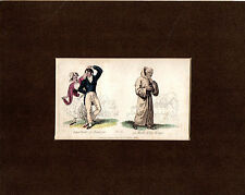 COPPERPLATE DOUBLE-PRINT - INHABITANTS OF BOULOGNE & A TRAPIST MONK  (1832)