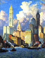 Hudson River Waterfront  by Colin Cambell Cooper  Giclee Canvas Print Repro
