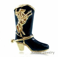 HANDMADE UNSEX Black SHOE COWBOY BOOT Halloween XMAS BROOCH PINS Gold JEWELRY