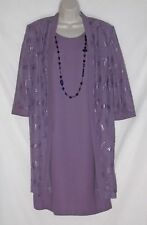 R & M RICHARDS – VINTAGE 80's- DRESS / DUSTER JACKET / NECKLACE - SIZE 16 - EVC