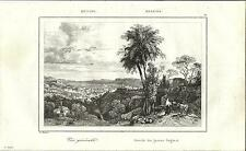 Stampa antica MESSINA veduta panoramica Sicilia 1835 Old antique print