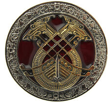 Gold Plated Celtic Longboat Belt Buckle In a Gift Box + Display Stand. (RED)
