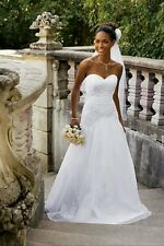 David's Bridal V9454 A-line strapless sweetheart wedding dress/gown beaded sz 8