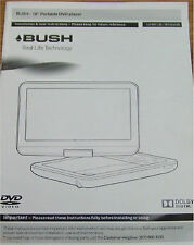 "Bush 10"" Portable DVD Player  User Manual Booklet ONLY"