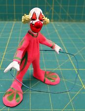 Vintage Hula Hooping Clown Clay Figure Handmade Hand Painted in Mexico