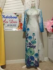 Vietnamese Traditional Ao Dai Silk - White Blue Flowers L