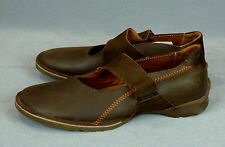 SERGIO TOMANI women brown leather flat shoes mary jane EUC 40-41 US 10