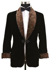 VTG Brooks Brothers Black Crushed Velvet Shawl Collar Smoking Jacket Coat 38
