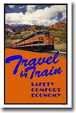 Travel by Train - Vintage Rail Art Print POSTER