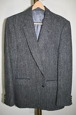 VTG circa 1960's~40R~SEARS~HARRIS TWEED~Wool~Gray~Herringbone~Black Sport Coat