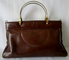 BORSA  a mano  piccola VINTAGE BAG in VERA PELLE Genuine leather manici metallo