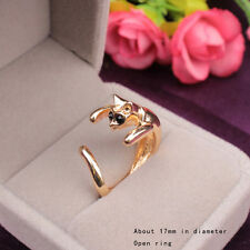 Cute Bague Cat Vintage Retro Ajustable acero Couleur Gold Silver Plated Ring QN