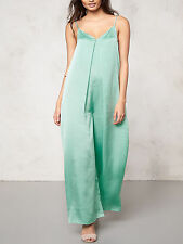 Pastel Green Crepe Satin Relaxed Fit,wide leg Summer Jumpsuit Size 12 NEW SEASON