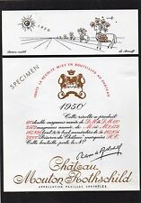 PAUILLAC 1EGCC ETIQUETTE CHATEAU MOUTON ROTHSCHILD 1950 75 CL DECOREE §06/02/17§