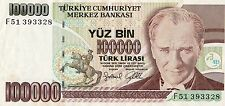 WORLD NOTE COLLECTOR TURKEY 100,000 VF BEAUTIFUL BANK NOTE  B004