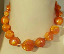 Really Pretty Orange Swirl Lucite Vintage 50's Germany Signed Necklace 297S6