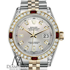 Rolex Stainless Steel & Gold 36mm Datejust Watch Silver Dial Ruby Diamond Bezel