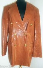 ESCADA Vintage Leather Jacket Brown 10 40 Croc Lizard Ostrich Boyfriend Leopard
