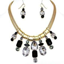 Black Statement Crystal Gold Earrings Necklace Parisian Designer Jewelry Set