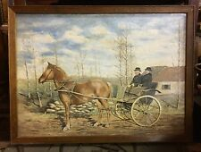 Gorgeous signed Folk Art oil painting Horse and Buggy 1918 Vintage American WOW