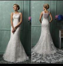 UK White/Ivory  Sleeveless Lace Mermaid Wedding Dress Bridal  Gown Size 6-22