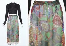 Vintage 1990's Bue Green Red FLORAL SEE THROUGH HIGH LOW WAIST HIPPY Skirt S M L