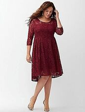 LANE BRYANT PLUS SIZE ILLUSION LACE FIT & FLARE DRESS 16 HOLIDAY PARTY BURGUNDY