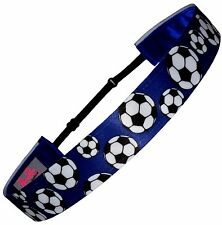 "Non Slip Adjustable Headband Soccer Headband ""Royal Blue Soccer"" by RazzyRoo"