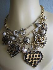BETSEY JOHNSON POLKA DOT LEOPARD LUCITE HEART CHARM STATEMENT NECKLACE RARE