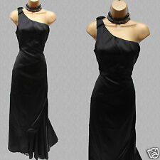 Karen Millen Black Stretch Satin One Shoulder Evening Ballgown Maxi Dress KM-14