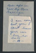 1920's USC Football Star NATE BARRAGER Signed Note