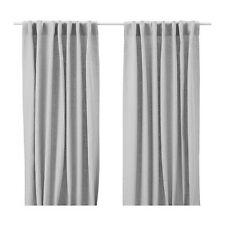 IKEA CURTAINS 100% LINEN Aina 1 pair Drapes Window panels Gray Beige White NEW