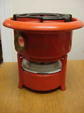 Dutch ORIGINEEL HALLER 2 wick Enamelware Kerosene Stove Original ORANGE Enamel