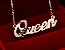 18K Rose Gold Plated Charm Queen Letter Necklace for Women - USA Seller!