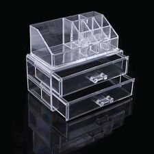 Clear Acrylic Makeup Cosmetics Jewelry Organiser 2 Drawers Display Box Storage